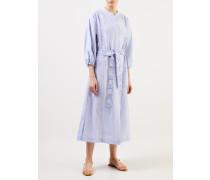 Leinenkleid mit Bindegürtel Blau/Weiß