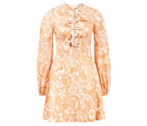 Mini-Kleid 'Peggy' aus Leinen mit Paisley Print Crème/Multi