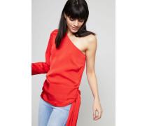 One-Shoulder Bluse mit Bindedetail Rot