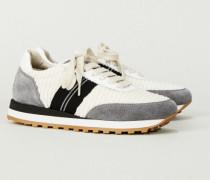 Sneaker mit Perlenverzierung Beige/Grau - Leder