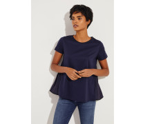 Baumwoll-Shirt mit rückseitigem Detail Blau- T-Shirt in Dunkelblau - Rundhalsausschnitt - Kurze Ärmel - Aufgesetztes Logo-Patch - Lockere Silhouette - Rückseitiges Detail - Auf Gesäßhöhe endend Material 1: -