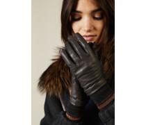 Lederhandschuhe mit Strickeinsatz Braun/Grau