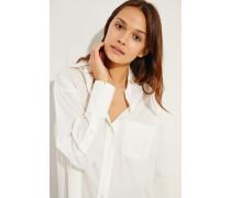Oversize Baumwoll-Seiden-Bluse Weiß