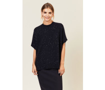 Woll-Seiden-Pullover mit Pailletten Blau