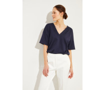 Baumwoll T-Shirt mit Perlen-Details Marineblau -