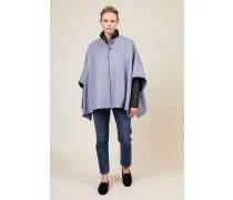 Wollcape mit Daunenjacke Blau - Cashmere