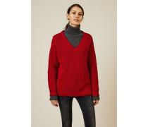 V-Neck Grobstrick-Pullover Rot - 100% Baumwolle