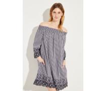 Off-Shoulder Kleid mit Stickerei Schwarz/Weiß