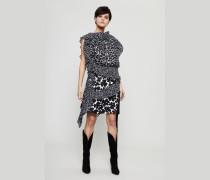 Seidenkleid mit Blumenprint Schwarz/Weiß - Seide