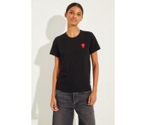 T-Shirt mit Herz-Emblem Schwarz