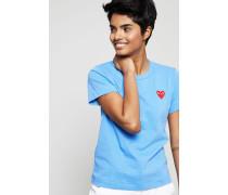 T-Shirt mit Herz-Emblem Blau - 100% Baumwolle