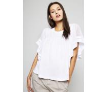 Baumwollshirt mit transparenten Ärmeln Weiß - 100% Baumwolle