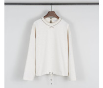 Baumwoll-Sweatshirt mit Perlendetails Beige