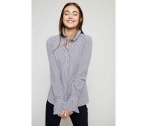 Bluse 'Carlotta' Weiß/Marineblau - 100% Baumwolle