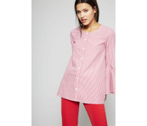 Gestreifte Bluse mit Glockenärmel Rot/Weiß - 100% Baumwolle
