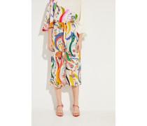 Seiden-Hose mit Print Weiß/Multi