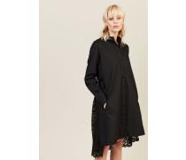 Kleid mit Spitzenverzierung 'Lace Back Shirt Dress' Schwarz - 100% Baumwolle