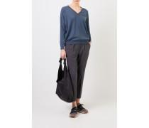 Cashmere-Pullover mit Perlenverzierung Petrol