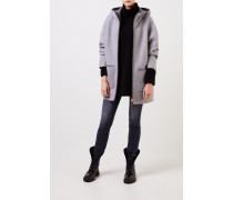 Cashmere-Mantel mit Kapuze Grau