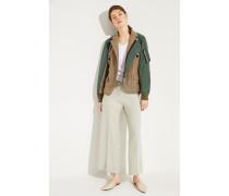 Baumwoll-Pullover mit Lurexdetails Weiß- Pullover in Weiß - O-Ausschnitt mit Lurexdetails in Silber - Lange Ärmel mit Rollsäumen - Schmale Silhouette - Rollsaumkante - Auf Gesäßhöhe endend Material 1: -