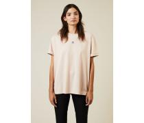 T-Shirt mit Stern-Stickerei Rosé - 100% Baumwolle