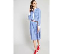 Hemdblusenkleid 'Spencer Dress' mit Logo-Knöpfen Blau/Weiß - Leder