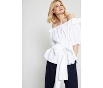 Off-Shoulder Bluse mit Bindedetail Weiß - 100% Baumwolle