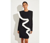 Kurzes Kleid mit Volant-Detail Schwarz/Weiß
