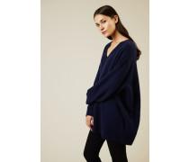 Oversize Cashmere-Seiden Pullover 'Sabrinah' Blau - Cashmere