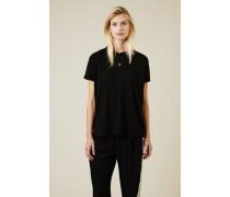 T-Shirt mit Stern-Stickerei Schwarz - 100% Baumwolle