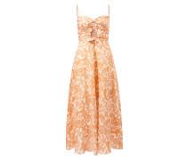 Midi-Kleid 'Peggy' aus Leinen mit floralem Print Crème/Multi