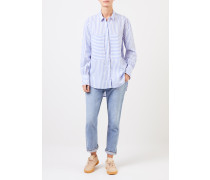 Klassische Bluse mit Streifen Blau/ Weiß