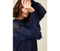 Zweiteilige Bluse mit Blütendetails Blau