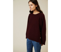 Baumwoll-Pullover mit Knopfdetails Bordeaux