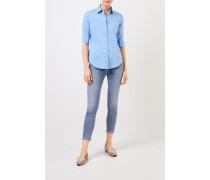 Klassische Baumwoll-Bluse mit Raffung Blau