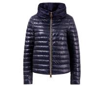 Daunen Jacke mit gerafftem Kragen Marineblau