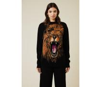 Woll-Pullover mit Löwen-Intarsien-Print Schwarz