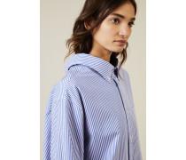 Oversize Bluse Blau/Weiß - 100% Baumwolle