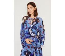 Seiden-Wickelkleid mit floralem Print 'Lizella' Blau