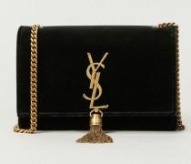 Umhängetasche aus Samt 'Small Monogram Kate' mit Quaste Dunkelgrün