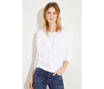 Leinen-Seiden-Cardigan mit Paillettendetails Weiß