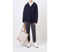 Woll-Jacke mit Perlenverzierung Marineblau