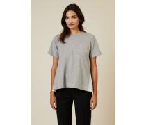 T-Shirt mit Plissee-Detail Grau/Weiß - 100% Baumwolle