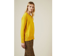 Woll-Pullover mit Knopfdetails Gelb - Cashmere
