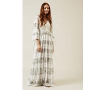 Maxi-Spitzen-Kleid Weiß/Grau - Seide