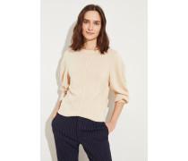 Cashmere-Woll-Pullover mit Stickerei Angora Beige