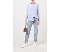 Karierte Seiden-Bluse Blau/Weiß
