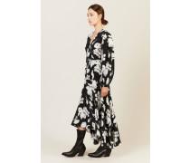 Seiden-Wickelkleid mit floralem Print Schwarz/Weiß