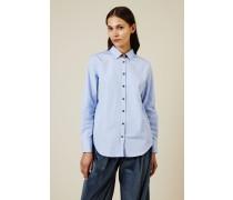 Baumwoll-Bluse mit Seidendetails Blau - Seide