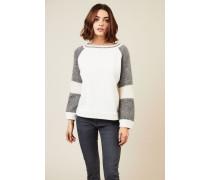Woll-Seiden-Pullover in Crème/Grau - Seide
